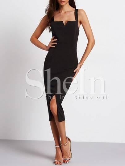 Black Sleeveless Split Sheath Dress