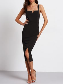 Black Sleeveless Split Sheath Dress