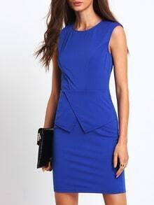 Blue Sleeveless Peplum Pencil Dress