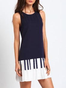 Navy Sleeveless Color Block Ruffle Dress