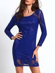 Blue Round Neck Lace Bodycon Dress