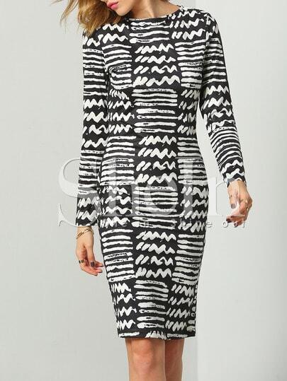Black White Round Neck Geometric Print Dress