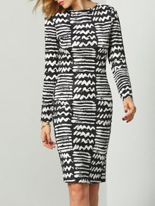 Black White Round Neck Geometric Print Dress