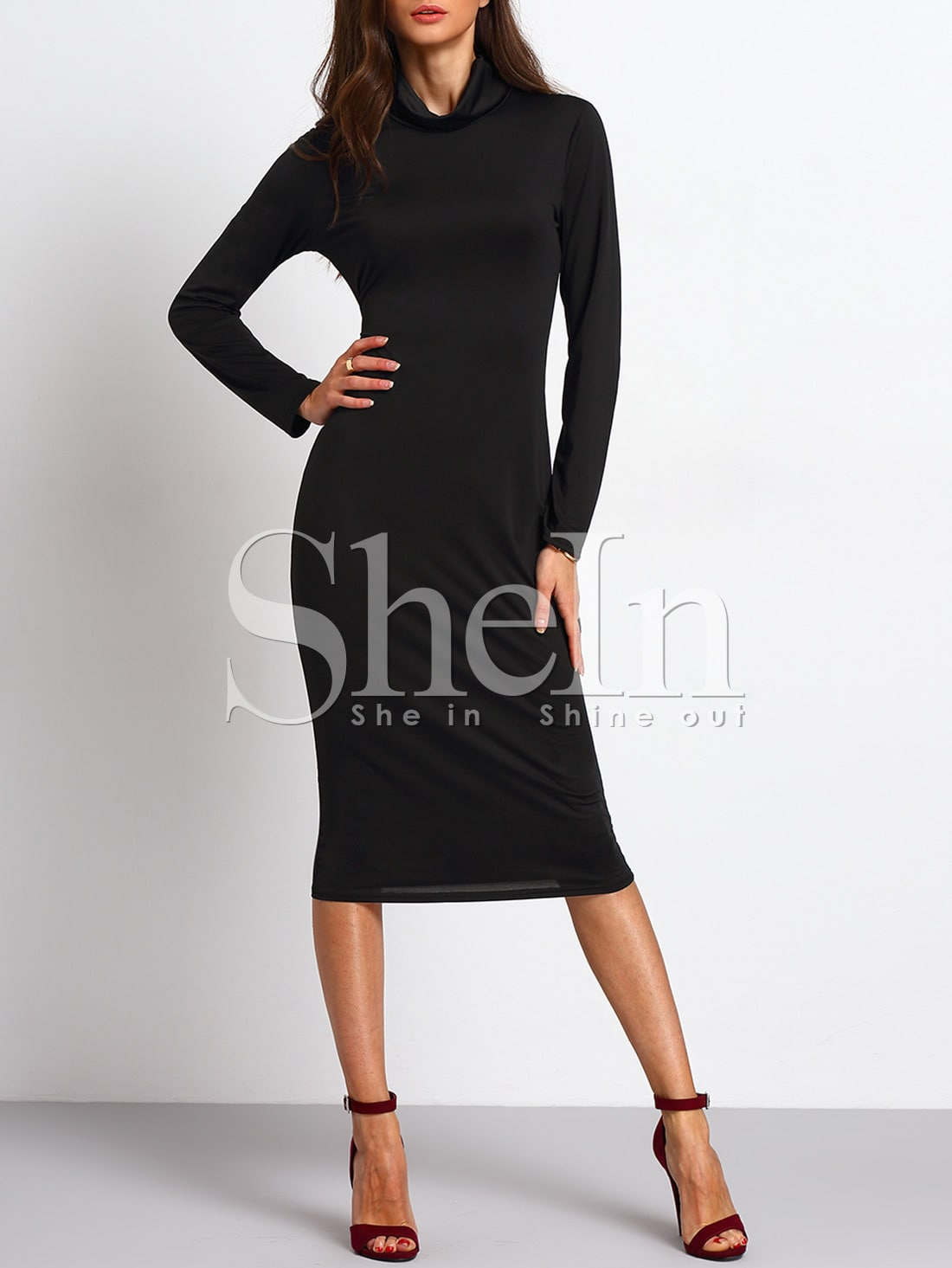 Black Turtleneck Long Sleeve Sheath Dress dress151029105