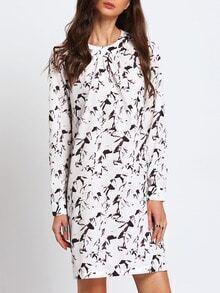 White Crew Neck Print Shift Dress