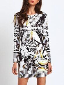 Abstract Print Knotted Sheath Dress