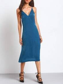Blue Spaghetti Strap Deep V Neck Backless Midi Dress