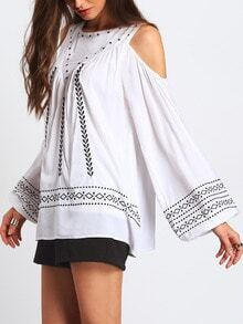 White Cold Shoulder Tribal Embroidered Blouse