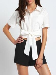 White Pockets Blouse With Bow Tie Waist