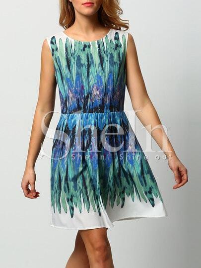 White Green Dyed Iridescent Puffball Sleeveless Feather Print Dress
