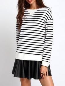 Black White Striped Round Neck T-Shirt