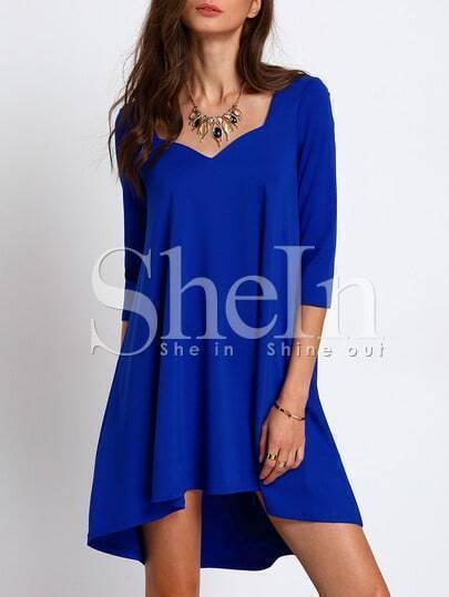 Blue Sweetheart High Low Dress