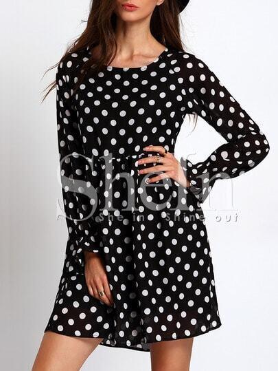 Чёрное платье в горошек. длинный рукав