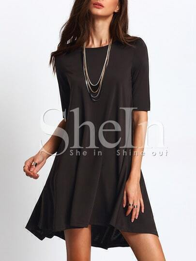 Black Round Neck Asymmetric Flare Dress