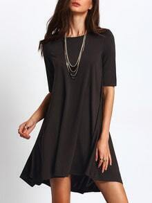Black Round Neck Asymmetric Flare Dress