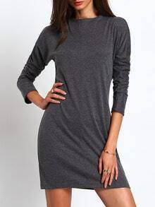 Grey Mock Neck Bodycon Dress