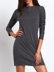 Grey Mock Neck Bodycon Dress