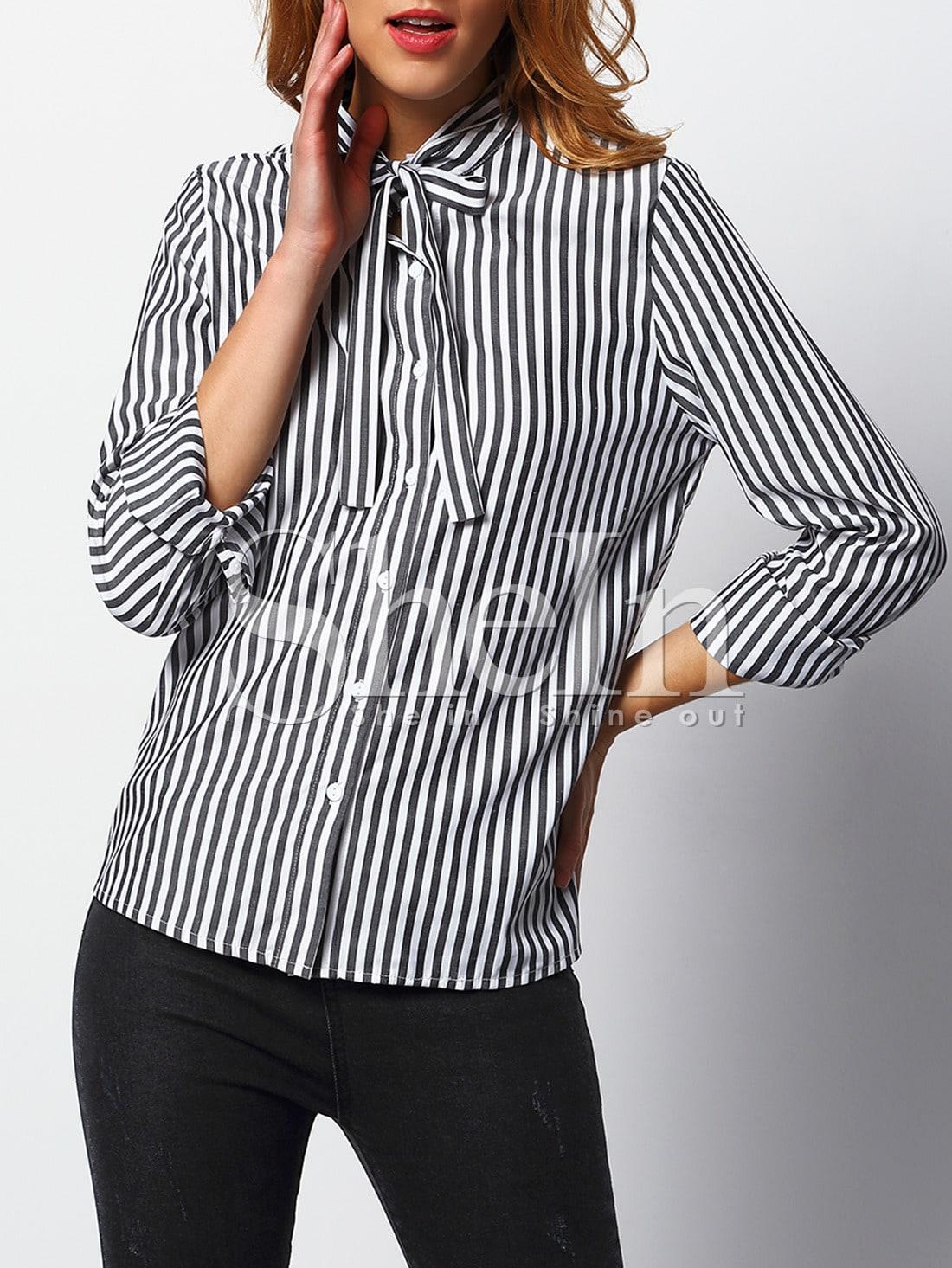 Women Black White Vertical Striped Shirt -SheIn(Sheinside)