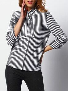 Women Black White Vertical Striped Shirt