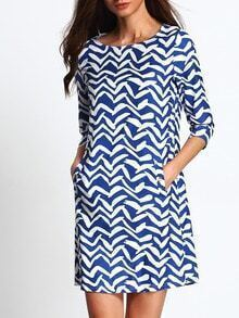 Blue White Print Boat Neck Tunic Dress