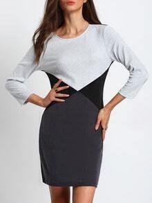 Grey Black Color Blcok T-shirt Dress