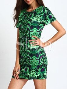 Green Short Sleeve Vintage Print Bodycon Dress