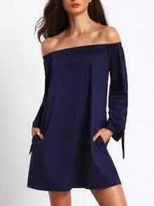 Navy Long Sleeve Off The Shoulder Knotted Dress