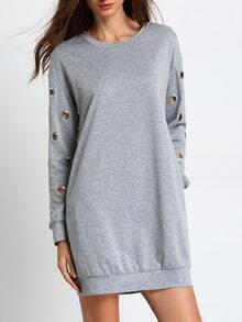 Grey Long Sleeve Hollow Dress