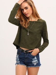 Green Black Long Sleeve Color Block Blouse