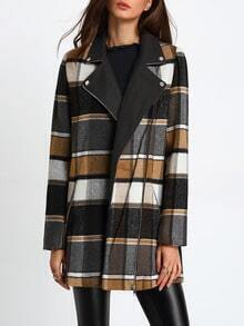 Khaki White Long Sleeve Lapel Plaid Coat