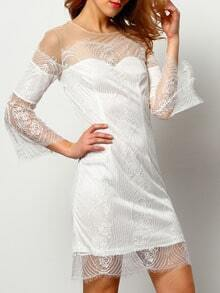 White Eyelash Lace Insert Mesh Shoulder Dress