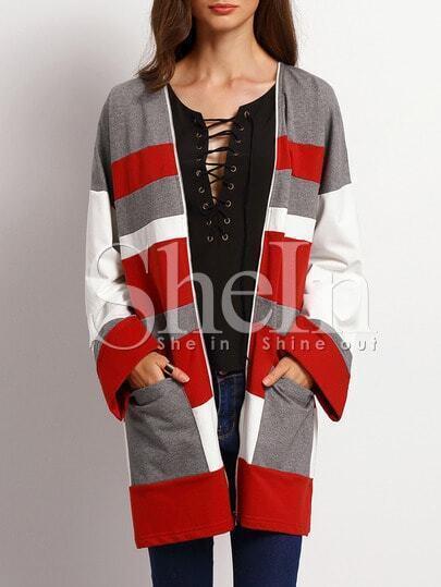 Burgundy White Long Sleeve Pockets Color Block Coat