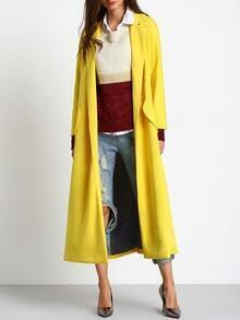 Yellow Long Sleeve Lapel Coat