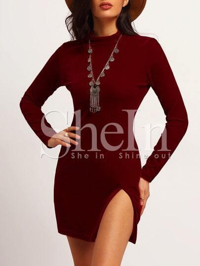 Red Long Sleeve Lace Hem Slim Dress