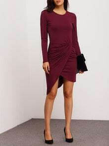 Burgundy Long Sleeve Asymmetric Dress