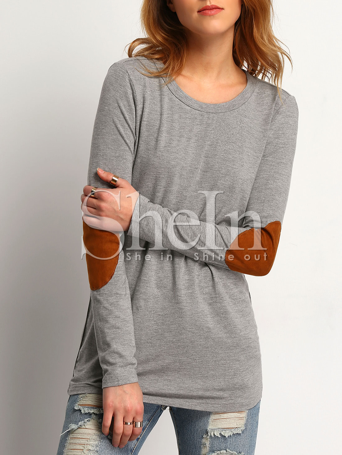Купить со скидкой Elbow Patch Loose T-Shirt