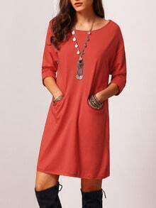 Orange Round Neck Pockets Casual Dress
