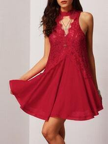 Red Sleeveless With Lace Asymmetric Dress
