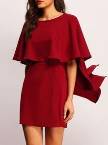 Burgundy Batwing Sleeve Backless Ruffle Dress