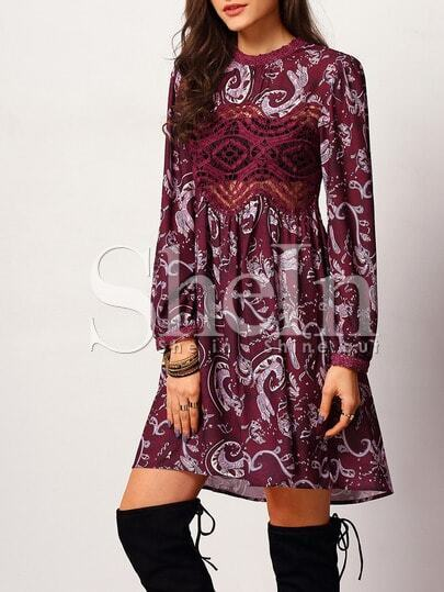 Purple Long Sleeve Vintage Print Dress