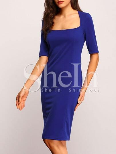 Blue Short Sleeve Sheath Split Dress