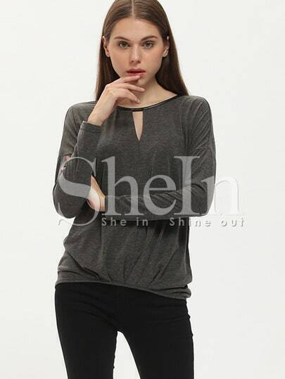 Grey Long Sleeve Casual T-shirt