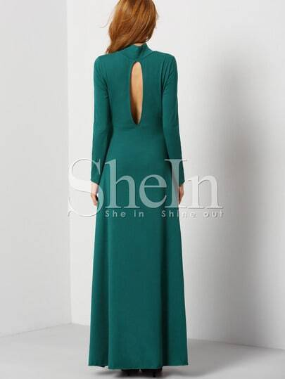 Dark Green Long Sleeve Backless Rockabilly Peasant Maxi Dress