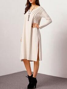 Apricot Long Sleeve Split Dress
