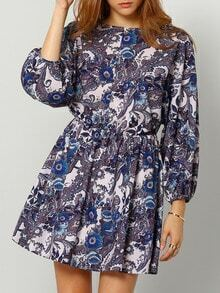 Multicolour V Neck Vintage Print Dress