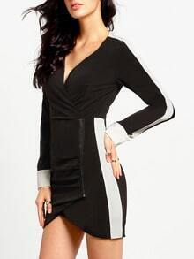 Black Professionals Long Sleeve V Neck Dress