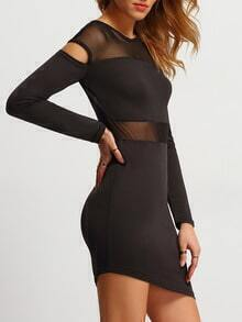 Black Mesh Insert Asymmetrical Sheath Dress