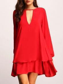 Red Cut Out Front Layer Hem Dress