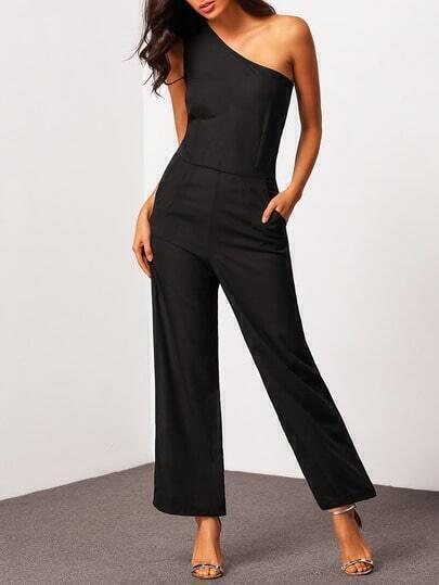 Black One Shoulder Slim Wide Leg Jumpsuit