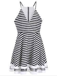 White Spaghetti Strap V Neck Striped Dress